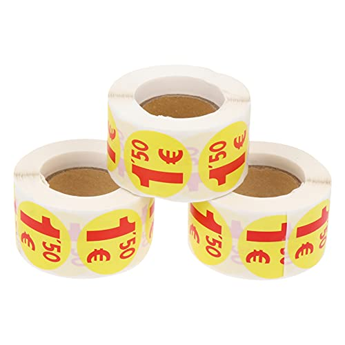 Hemoton 1500Pcs 1. 50 Euro Price Garage Sale Labels Self- Adhesive Removable Labels Price Tag Labels Price Decal for Garage Sale Supermarket
