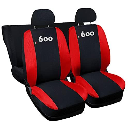 Lupex Shop Nr Coprisedili compatibili 600, Nero-Rosso, Set di 6