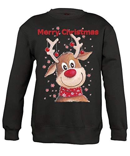 Quattro Formatee Merry Christmas Rentier - Weihnachten Merry Christmas Ugly X-Mas Santa Claus Weihnachtsoutfit Weihnachtspulli Weihnachtspullover D Pullover Sweatshirt | Schwarz | 3XL