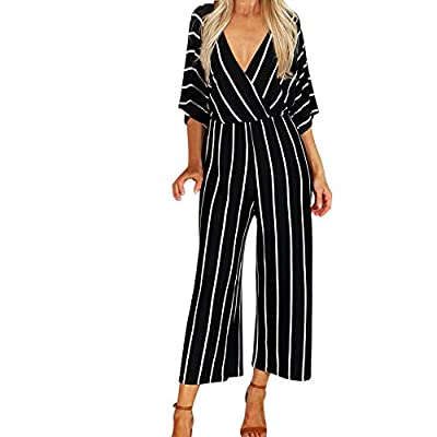 Jumpsuit for Women Sexy V Neck Stripe 3/4 Sleeve Slim Fit Wide Leg Long Pants Outfit