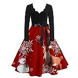 Auifor Weihnachtskleid Damen Langarm Weihnachten Musical Notes Print Vintage Flare Kleid chtspullover Weihnachtsdeko Pullover Kleider Sexy Spitze Kleidung