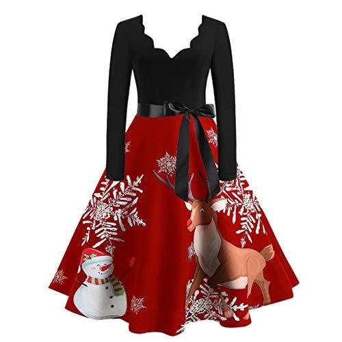 Damen Weihnachten Kleider Langarm Weihnachtskleid Vintage Hepburn Cocktailkleid Weihnachten Druck Partykleid A-Linie Swing Kleid Dress