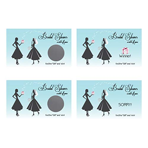 Bridal Shower Wedding Scratch Off Game Card 25 Pack Blue Aqua Vintage My Scratch Offs
