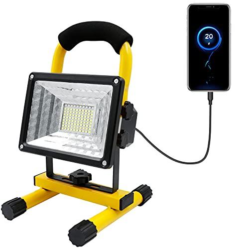 Faretto da Cantiere LED, 30W Faro Ricaricabile, IP65 Portatile Lampada da Lavoro con Power Bank Integrata per Officina, Illuminazione del Lavoro, Campeggio, Pesca