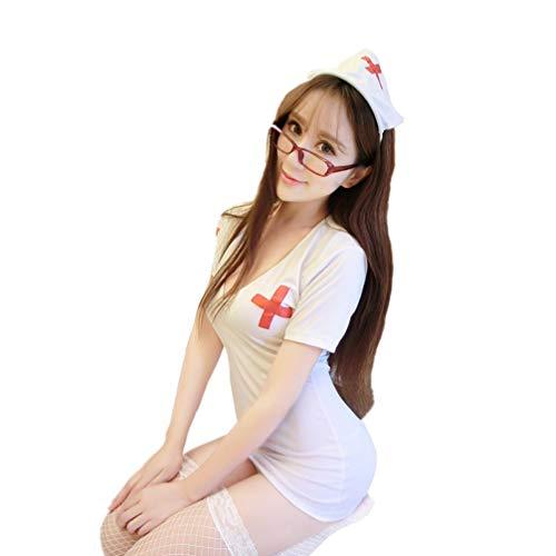 TENDYCOCO Krankenschwester Uniform weiche Frauen sexy Krankenschwester Nachtwäsche Outfit Dessous Kostüm für Partei Rollenspiele Paare