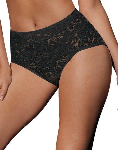 Bali Women's Shapewear Lace 'N Smooth Brief, Black, Medium