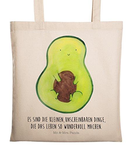 Mr. & Mrs. Panda Beutel, Baumwolltasche, Tragetasche Avocado mit Kern mit Spruch - Farbe Transparent