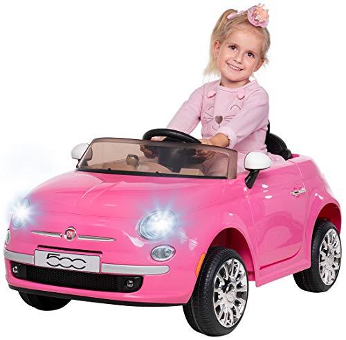 Actionbikes Motors Kinder Elektroauto FIAT 500 - Lizenziert - Mp3 - USB - SD - 2,4 Ghz Rc Fernbedienung - Not Stop - Softstart - Elektro Auto für Kinder ab 3 Jahre