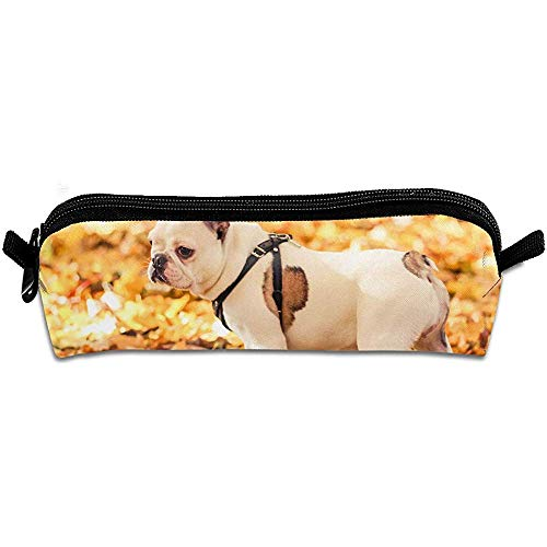Bulldogge, Die In Autumn Park Large Capacity-Bleistift-Kasten-Student Office High School-Bleistift-Kasten Spielt