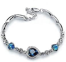 New Fashion Cute Women Blue Crystal Rhinestone Heart Charm Bangle Bracelet CH