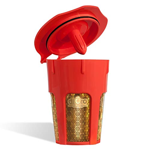 DI ORO - MaxBrew 24K Gold Reusable K-Carafe Filter for Keurig 2.0 - K-Cup Reusable 4-5 Cup Carafe...