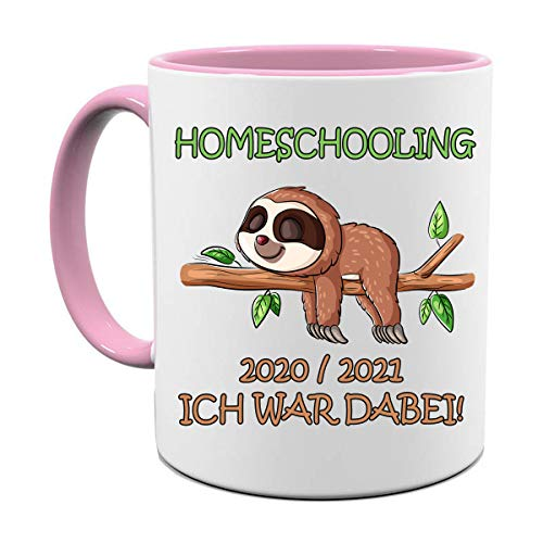 HOMESCHOOLING 20/21 ICH WAR DABEI |FOTOTASSE| TASSE|MOTIV TASSE | BEDRUCKTE TASSE | KAKAOTASSE | TEETASSE | GESCHENK|KERAMIK|TASSE (Rosa)