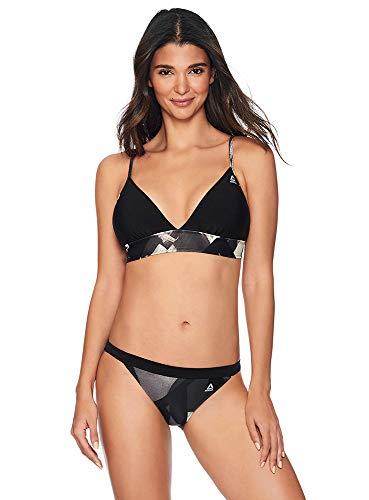 Reebok Lifestyle Women's Swimwear Bold Dynamic Plunge Bikini Bathing Suit Top with Adjustable Straps, Black/White, Large