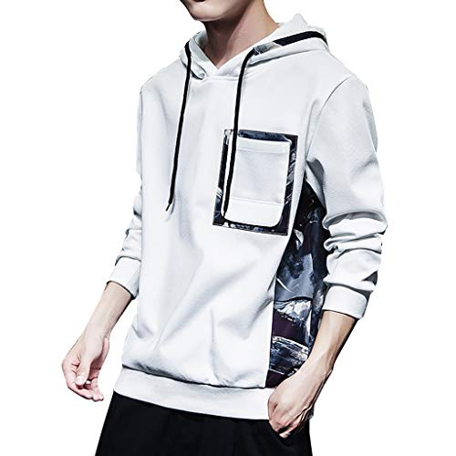 Xmiral Kapuzenpullover Herren Patchwork Lange Ärmel Tunnelzug Tasche Hoodie Pullover Mode Outdoor Sportbekleidung Oberbekleidung(Weiß,M)