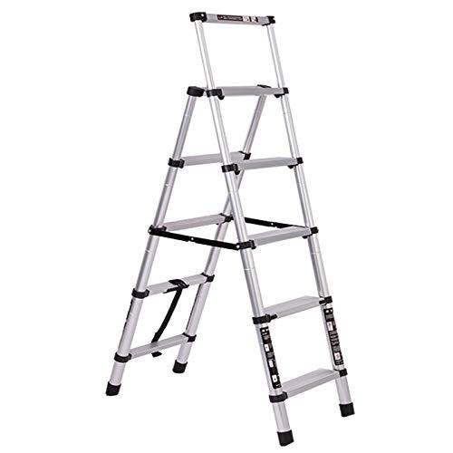 LWH Escalera Plegable de Aluminio,1.8M+1.8M Escalera telescópica 8M, Escalera Plegable portátil, 5+6...