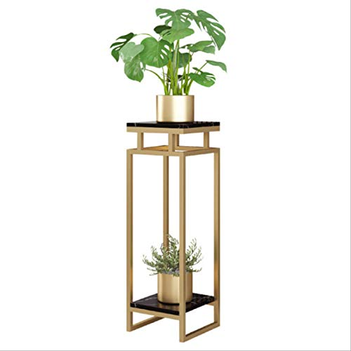YAHAO Metal Plant Stand Marble, 2 Pots Flower Herbs Holder Plant Pot Holder Flower Rack Flower Shelf Stairs For Indoor Outdoor Home Decoration,30 * 30 * 70cm