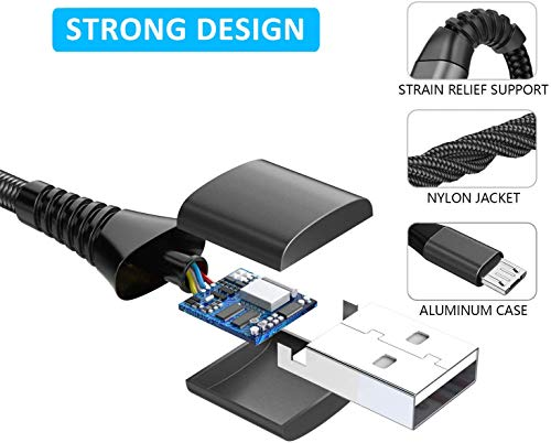 Micro USB Kabel, Yosou [2Pack 2M] Nylon Micro USB Ladekabel Schnellladekabel Andriod Handy Ladekabel für Samsung Galaxy S7/S6/S5/J3/J5/J7/Note 5, Tablet, Huawei, Xiaomi, HTC, Sony, Nexus, Nokia, PS4