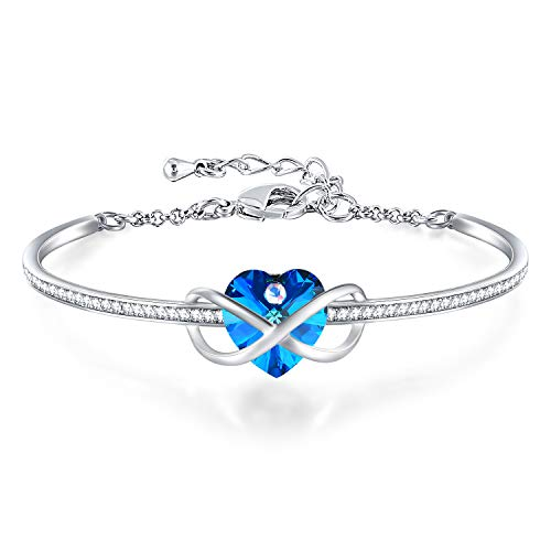 GEORGE · SMITH Adjustable Silver Bracelet Bangle for Women Ladies Infinity Bracelet with Crystals from Swarovski ——Best Women Jewelry Bracelet Gifts for Mom Wife Birthday Christmas (Blue)