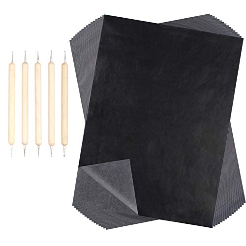 Huayue 200 Blatt Carbon Papier Kohlepapier A4 Carbon Transferpapier Pauspapier Graphitpapier Durchschreibepapier mit 5 Stück Prägestift Embossing Stylus für Holz Stoff Tattoo Papier Copy Leinwand