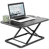 VIVO Ultra-Slim Single Top Height Adjustable Standing Desk Riser, Compact Sit Stand Desktop Converter for Monitor or Laptop, Black, DESK-V001J