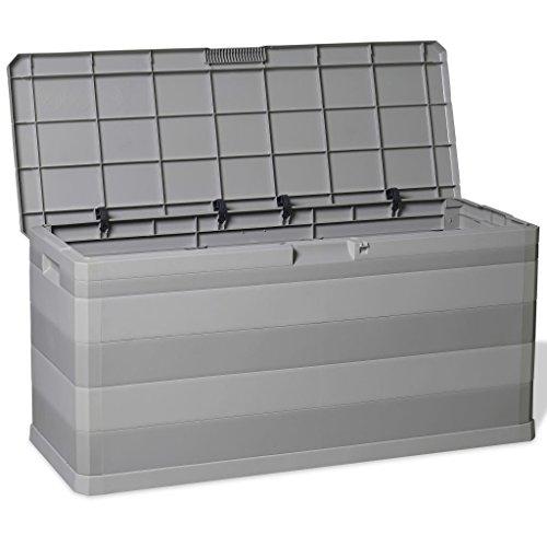 Auflagenbox/Kissenbox l Gartenbox Kissen Box Gartentruhe Truhe Polypropylen l Grau 117×45×56 cm (B x T x H)