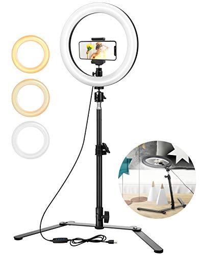 ELEGIANT Anillo de luz Trípode LED 10', Aro Soporte de Luz de Selfie de Regulable 3 Colores de Luz + 10 Niveles de Brillo, Trípode de Teléfono Móvil para Tiktok Youtube Transmisión en Vivo Vlog