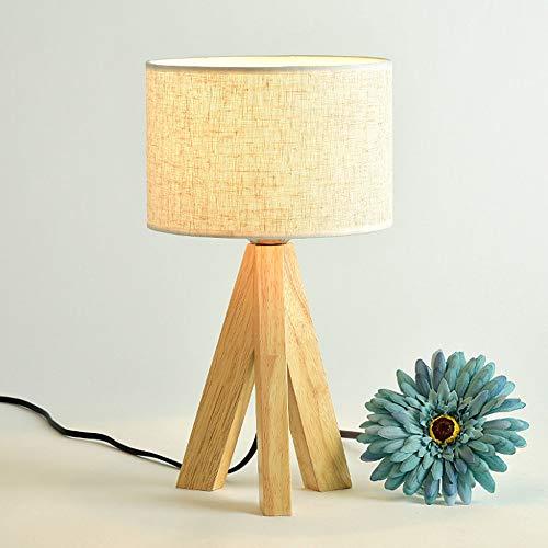 E27 LED Nachttischlampe aus Holz,Moderne Retro minimalistischer Stil,Tischlampen max 60W,für Schlafzimmer, Büro, Wohnzimmer,E27 Lampen Nachttischlampe 230V Stoff/Holz/Metall ohne Leuchtmittel