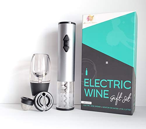 Electric Wine Opener Gift Set, Includes Automatic Inevitable Reality Cordless Bottle Corkscrew, Aerator Decanter and Foil Cutter. Best Kit Box. 3 in 1 Gift Set.