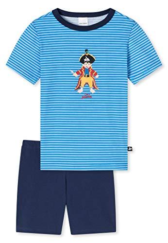 Schiesser Jungen Capt´n Sharky Schlafanzug kurz Pyjamaset, blau, 116