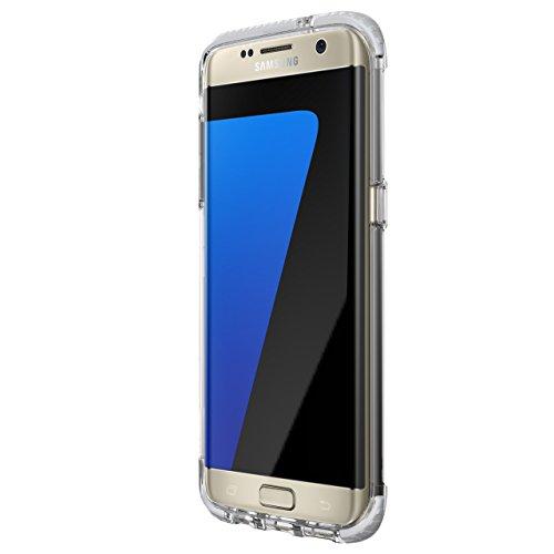 Tech21 Evo Frame Schutzhülle Hülle Cover Widerstandsfähig Schlagfest mit FlexShock Technologie Aufprallschutz für Samsung Galaxy S7 Edge - Transparent / Weiß
