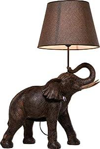 Kare Design Tischleuchte Elephant Safari, moderne Design Nachttischlampen mit detailreichem Elefant, braun-beige (H/B/T) 73,5x52,3x33cm