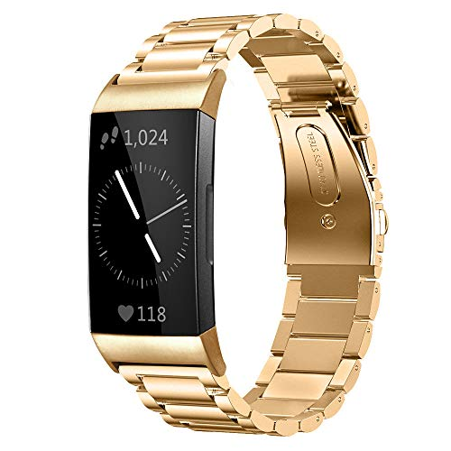 Shangpule Compatible for Fitbit Charge 3 / Fitbit Charge 4 / Fitbit Charge 3 SE Bands, Stainless Steel Metal Replacement Strap Wrist Band Compatible for Charge 3 Fitness Tracker Large Small (Gold)