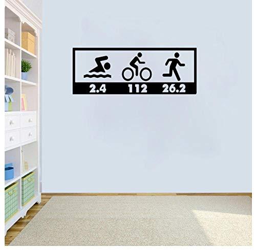 Wandaufkleber Zitate Kunst vinyl Wandbild DIY Abnehmbare Schwimmen fahrrad und laufende Aufkleber Wohnkultur Kinder Kindergarten Bad Küche Zimmer Kinder Kindergarten geschenk 55 * 20,9cm