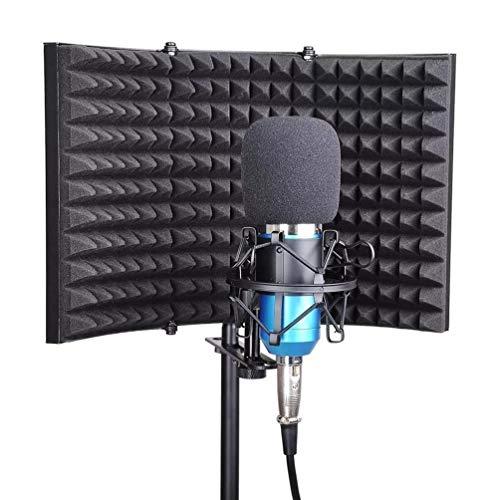 Escudo de aislamiento de micrófono, espuma de absorción de sonido de micrófono ajustable plegable para soporte de mesa o soporte, para grabación de sonido de estudio podcasts de podcasts (MIC y montaj