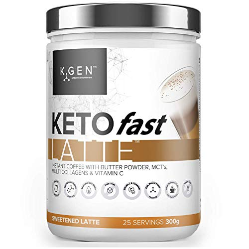 K-GEN KetoFAST Instant Latte | Instant Coffee Blended with Multi Collagens, Butter Powder, MCT Oil & Vitamin C | for Fasting, Keto & Paleo | Unflavoured with Stevia