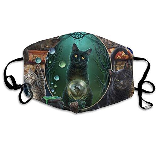 liusizheree Aufstieg der Hexenkatzen In Magic Mirror Cat Waschbarer Mundschutz mit Filtertasche with 6 Filters Multifunktionstuch Bandanas Unisex