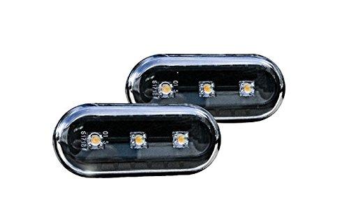 LED Seitenblinker Klar Schwarz Oval Links+Rechts Set E-Prüfzeichen Eintragungsfrei