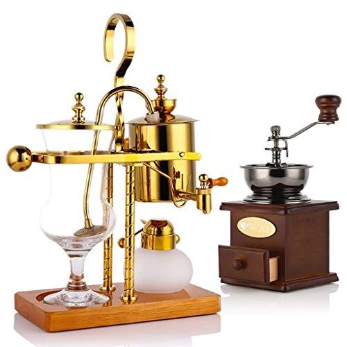 JYKJ Vintage Koffiezetapparaat Grinder Luxe Royal Balance Siphon Koffiemachine Klassiek Thema Duurzame Dubbele staaf Koffiemachine Elegant Ontwerp Kleur Wenen Koffiemachine B Goud
