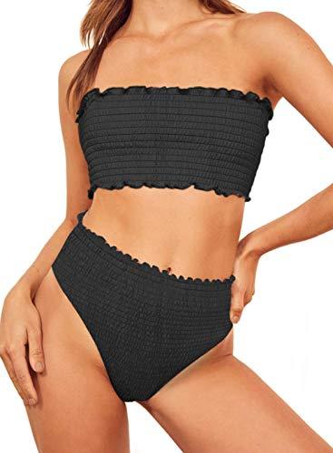 Stevemary Conjunto de Bikini Fruncido sin Tirantes sin Tirantes de Cintura Alta para Mujer, Traje de ba?o, Traje de ba?o Z, Negro, Peque?o