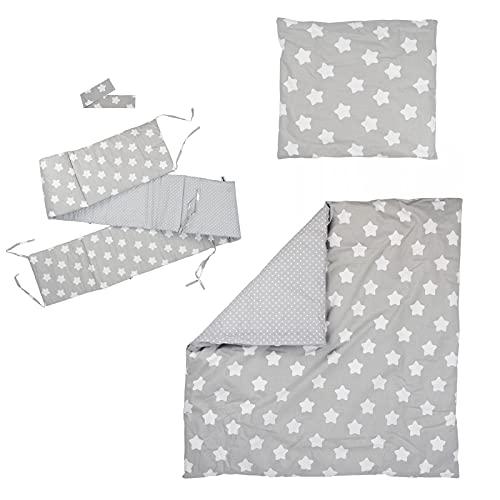 Puckdaddy Bett-Set Finja – Baby Bettwäsche-Set für Babybetten, bestehend aus Nestchen, Bettbezüge & Betthimmel, Wendedesign mit Sterne- und Pünktchen-Muster, 100% Baumwolle, hochwertig & pflegeleicht