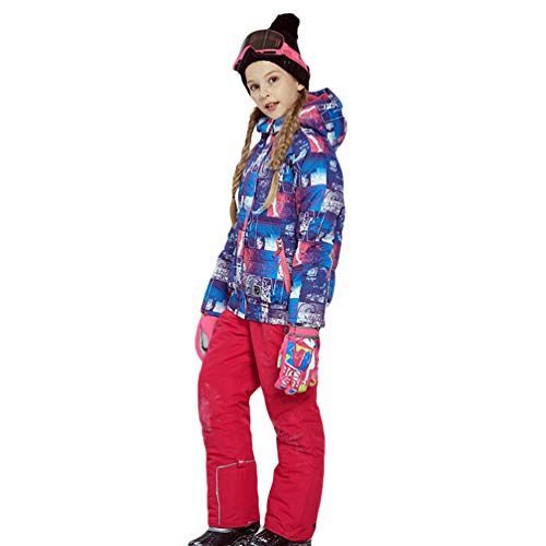 Lvguang Kind Berg wasserdichte Kapuzen Skijacke Winddicht Warme Winterregen Schneejacke Wear & Ski Pants (Rose, Asia 3XL)