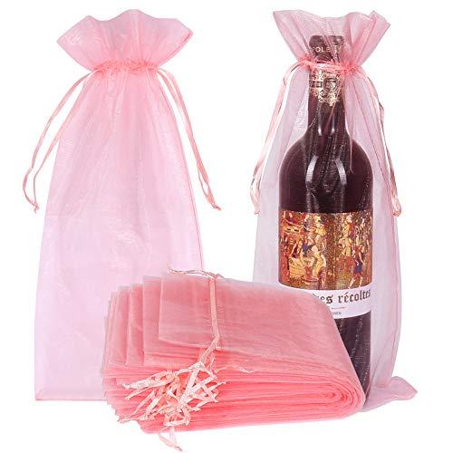 Organza-Weinbeutel, rosa, durchsichtig, Netzstoff, Geschenkbeutel, Weinabdeckung, Kleider mit Kordelzug, für Weihnachten