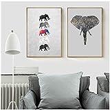 Elefantes Pinturas en lienzo Carteles e impresiones abstractos Imágenes nórdicas del arte de la pared para la decoración del hogar de la sala de estar 70x90cm Sin marcoElefante