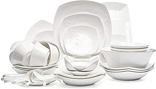 Sistema de Cena de cerámica del Cuenco de cerámica, Lujo Ligero del Estilo nórdico 46 Pedazos Sistemas del Servicio de Mesa de la Porcelana de Hueso