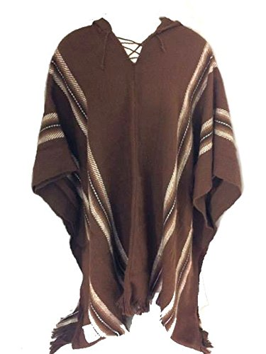 100% Baby Alpaca Heren Fair Trade Poncho Jumper Wollen Mantel Kaap Jas Bruin