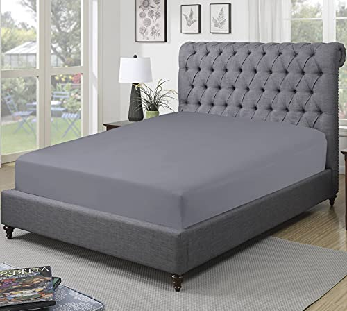 Sapphire Collection 300 Thread Count 100% Egyptian Cotton Fitted Sheets (Double, Grey)