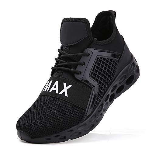 Men Fashion Sneakers Size 8.5 All Black Tennis Jogging Shoes mesh Breathable Cross Trainers Sport Running Comfort Male Gym Walking Casual