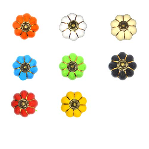 Jsdoin Juego de 8 pomos de cerámica estilo vintage de calabaza para gabinete de cajones, tiradores de puerta y cajones