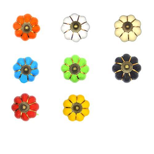 Jsdoin Juego de 8 pomos de cerámica vintage con diseño de calabaza, estilo vintage y chic