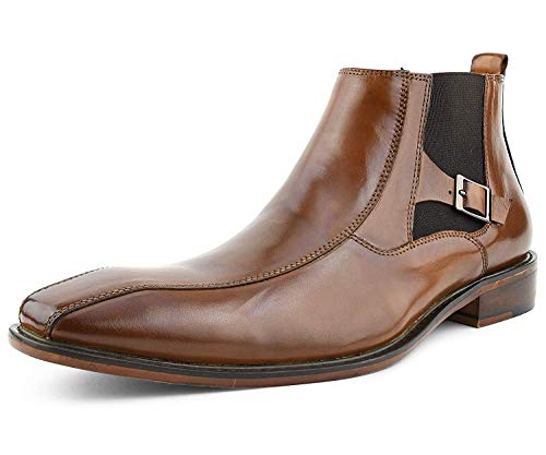 Men's Chelsea Boot Genuine Leather Boots Pull-on Dress Boot with Buckle Brown